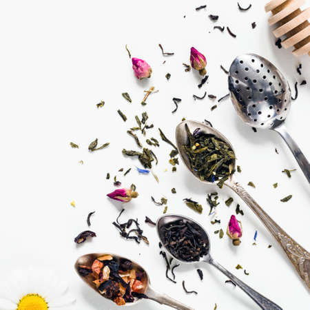 Variety of dried tea, dried herbal, green, black tea and fruit tea on vintage silverware tea spoons over white background with copy space negative space. Table top view Foto de archivo