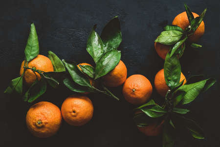 Tangerines or clementines with green leaf. Still life on dark background. Top view, toned image 스톡 콘텐츠