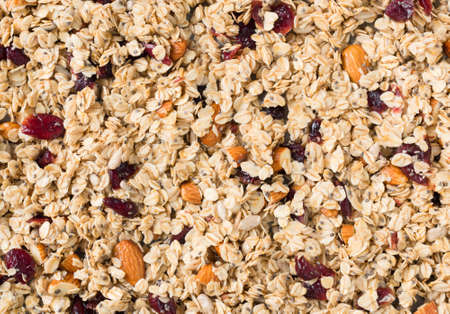 Homemade muesli or granola with nuts and dried cranberries as background. Horizontal composition