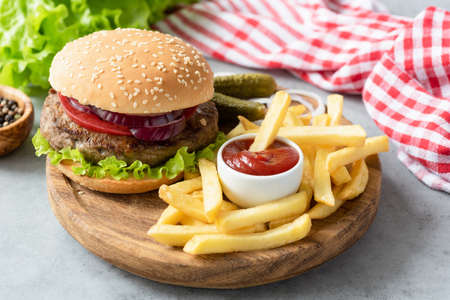 Hamburger, french fries and ketchup. Fast food concept 스톡 콘텐츠
