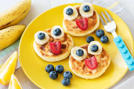 Funny Healthy Breakfast For Kids. Colorful Children Food Menu On Yellow Plate