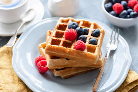 Belgian waffles served with fresh berries on a plate, closeup view. Tasty breakfast