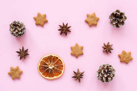 Winter or Christmas flat lay with star anise gingerbread cookies on pink Фото со стока