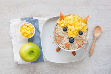 Breakfast for kids, oatmeal porridge with fruits and green apple. Food art, funny cute breakfast for kids. Animal face food
