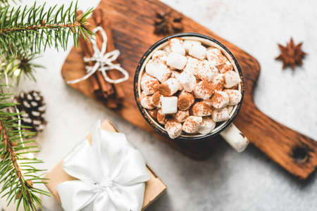 Hot Chocolate With Marshmallows And Cinnamon In Mug, Top View. Christmas Drink, Cozy Comfort Food Winter Holidays
