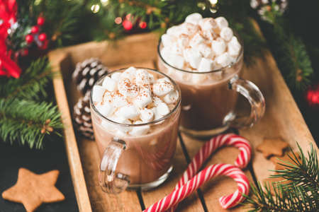 Hot chocolate with marshmallows, warm cozy Christmas drink in a wooden tray Stock Photo