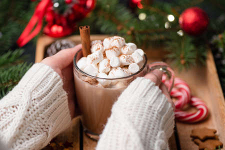 Woman hands holding cup of hot chocolate with marshmallows. Closeup view, selective focus. Festive Christmas or New Year drink. Advent, winter holidays concept Stock Photo
