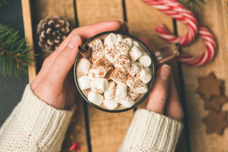 Cup of hot chocolate with marshmallows in girl hands. Female holding warm cozy comfort drink. Top view, toned image