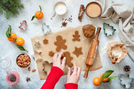 Preparation of gingerbread cookies. Festive Christmas baking.