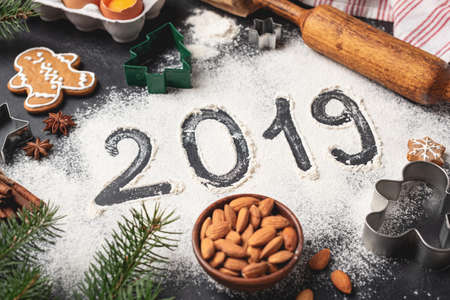 New Year 2019 written on flour. Winter holidays, Christmas concept
