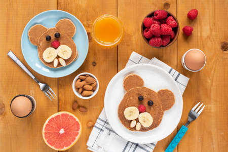 Funny pancakes food art for kids.