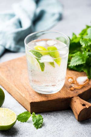 Alcohol free sparkling mojito, soda water with lime and mint. Healthy refreshing summer ice cold drink