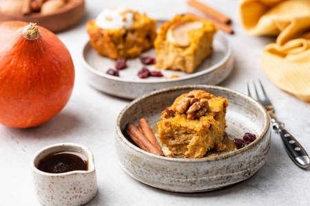 Breakfast Oat Pumpkin Cake With Maple Syrup, Walnuts, Cinnamon.