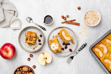Breakfast Pumpkin Apple Tray Cake Or Pie With Cinnamon, Walnuts And Dried Cranberry.