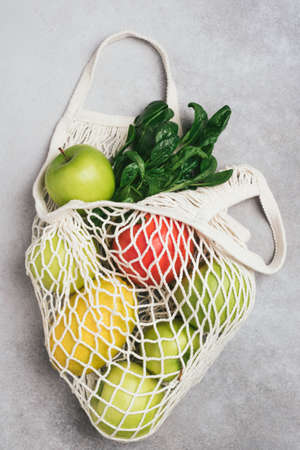 Zero Waste Eco Mesh Shopping Bag With Fruits And Greens.