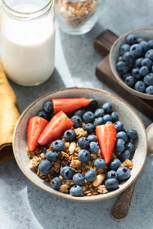 Granola with blueberries and strawberries in a bowl on concrete background. Natural light, strong shadows