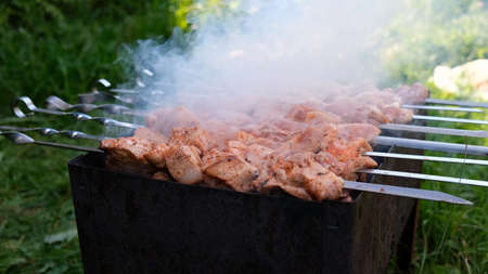 Cooking shashlik, shish kebab. Charcoal fire, cooking red meat outdoors