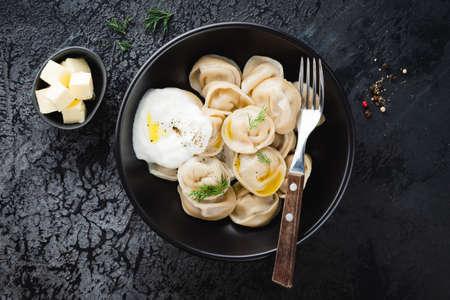 Pelmeni, meat stuffed boiled dumplings
