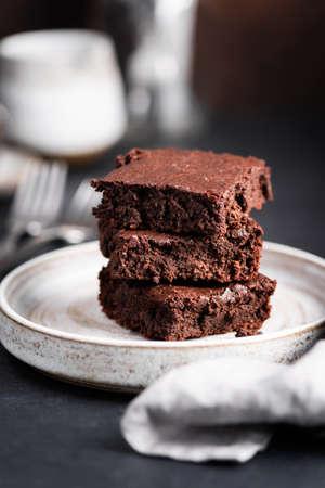 Stack of chocolate brownies 版權商用圖片