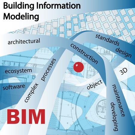 BIM ESTÁ CONSTRUYENDO modelado de información. Los objetos y símbolos sobre un fondo azul. Foto de archivo