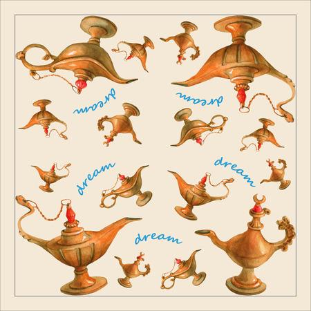 手アラビアン ナイトから魔法のアラジンの魔神ランプの水彩イラスト。薄い黄色の背景でデザイン 2。ナプキン、タオルや枕の画像 写真素材 - 60798652