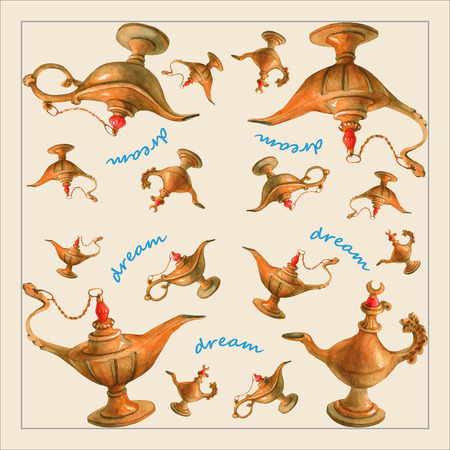Hand watercolor illustration of magical Aladdins genie lamp from the Arabian Nights. Pale yellow background, design 2. Picture for napkins, towels or pillows