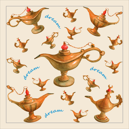 nights: Hand watercolor illustration of magical Aladdins genie lamp from the Arabian Nights. Pale yellow background, design 1. Picture for napkins, towels or pillows Stock Photo
