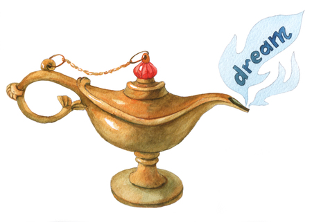 rub: Hand watercolor illustration of magical Aladdins genie lampon white background. Dream 1. Stock Photo