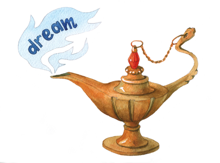 Hand watercolor illustration of magical Aladdins genie lampon white background. Dream 2.