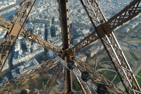 View through the metal structures on Paris from the Eiffel Tower