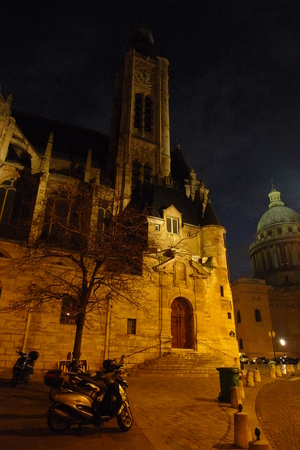 The ancient church of Saint-Etienne-du-Mont near the Pantheon in Paris at night. Winter before christmas