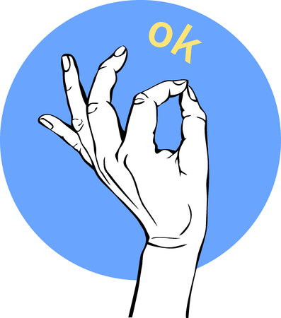 Woman Hand OK sign. Gesture Circle Icons, business concept. Illustration