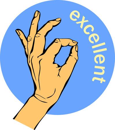 女性の手の OK サイン。ジェスチャー円青いアイコンは、ビジネス コンセプト。  イラスト・ベクター素材