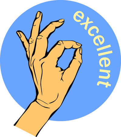 Woman Hand OK sign. Gesture Circle blue Icons, business concept.