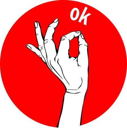 Woman Hand OK sign. Gesture Circle red Icons, business concept. Illustration