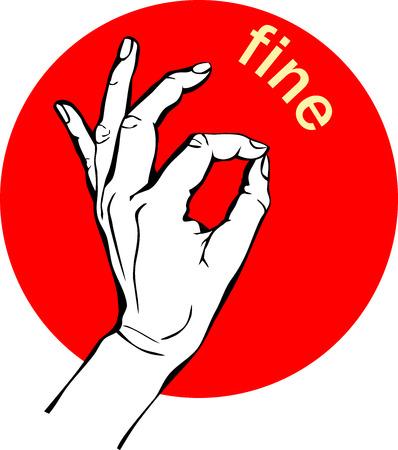 女性の手の OK サイン。ジェスチャー円の赤いアイコンは、ビジネス コンセプト。