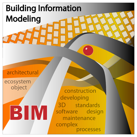 developement: BIM IS BUILDING INFORMATION MODELLING. Objects and symbols on a orange background.