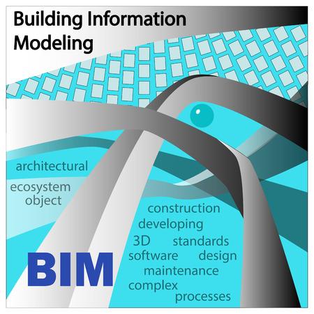 BIM は建物の情報モデル化します。オブジェクトとシンボルの中の背景の色が水色に。 写真素材 - 61111096