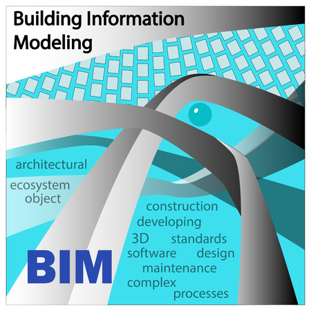BIM IS BUILDING INFORMATION MODELLING. Objects and symbols on a medium turquoise background.