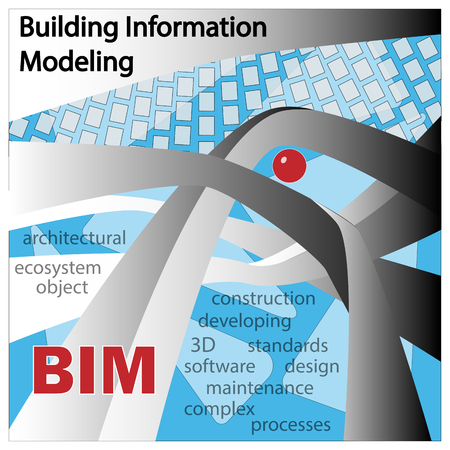 BIM IS BUILDING INFORMATION MODELLING. Objects and symbols on a blue background.