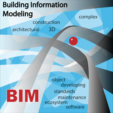 modelling: BIM IS BUILDING INFORMATION MODELLING. Objects and symbols on a blue background.
