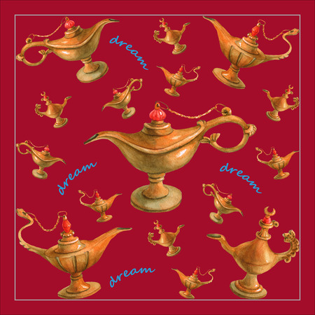 watercolor illustration of magical Aladdins genie lamp from the Arabian Nights. Cherry-colored background, design . Picture for napkins, towels or pillows