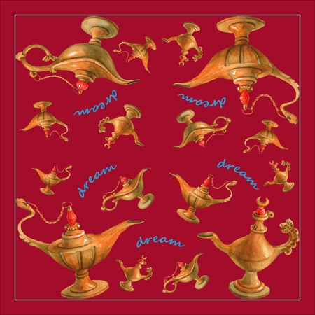 aladin: watercolor illustration of magical Aladdins genie lamp from the Arabian Nights. Cherry-colored background, design . Picture for napkins, towels or pillows