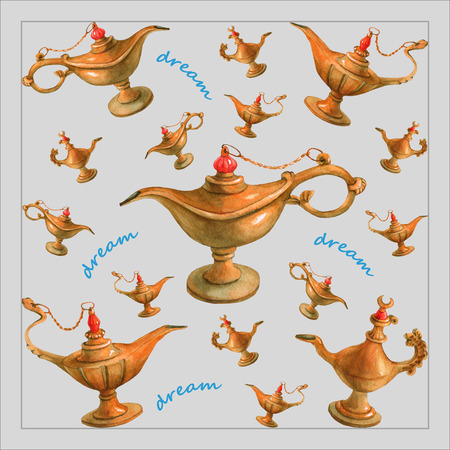 watercolor illustration of magical Aladdins genie lamp from the Arabian Nights. Gray background, design . Picture for napkins, towels or pillows. Stock Photo