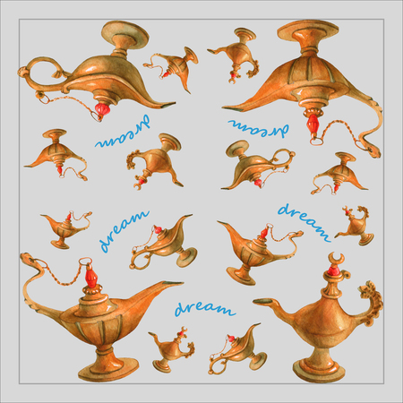 watercolor illustration of magical Aladdin's genie lamp from the Arabian Nights. Gray background, design . Picture for napkins, towels or pillows.