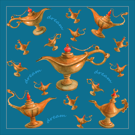 watercolor illustration of magical Aladdin's genie lamp from the Arabian Nights. Bright turquoise background, design . Picture for napkins, towels or pillows