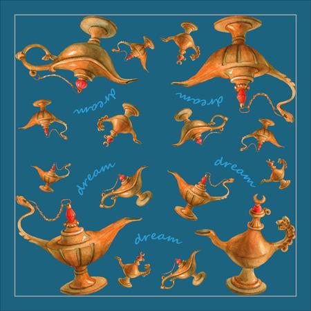 魔法のアラジンの魔神ランプ アラビアン ナイトからの水彩イラスト。明るい青緑色の背景、デザイン。ナプキン、タオルや枕の画像 写真素材 - 61111140