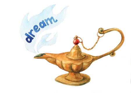 watercolor illustration of magical Aladdins genie lamp on white background. Stock Photo