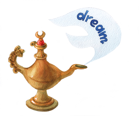 watercolor illustration of magical Aladdins genie lamp on white background Stock Photo