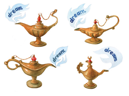 watercolor illustration of magical Aladdins genie lampon white background
